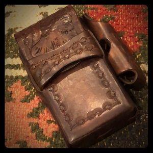 Vintage tooled leather cigarette or card case